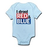 I drool red and blue Onesie