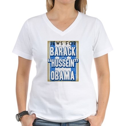 Jews For Barack Obama Women's V-Neck T-Shirt
