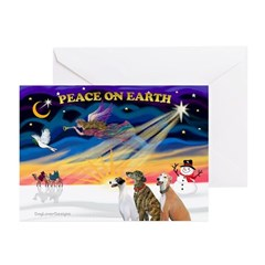 XmasSunrise/3 Greyhounds Greeting Cards (Pk of 20)