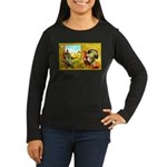 Thanksgiving Americana Women's Long Sleeve Dark T-
