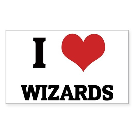 I Love Wizards Rectangle Sticker
