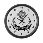 Fire Dept Firefighter Tattoos Large Wall Clock