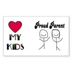 LOVE MY KIDS (PROUD PARENTS) Rectangle Sticker