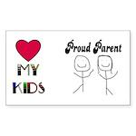 LOVE MY KIDS (PROUD PARENTS) Rectangle Sticker
