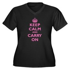 Keep Calm and Carry On: Ladies Plus V-Neck T-Shirt