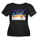 XmasSunrise/Shiba Inu 3 Women's Plus Size Scoop Ne