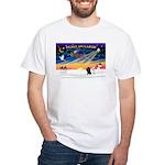 XmasSunrise/2 Poodles White T-Shirt