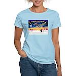XmasSunrise/2 Poodles Women's Light T-Shirt