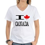 I Heart Canada Women's V-Neck T-Shirt