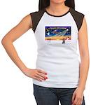 XmasSunrise/Poodle (min) Women's Cap Sleeve T-Shir