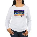 XmasSunrise/Poodle (min) Women's Long Sleeve T-Shi
