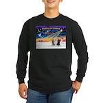 XmasSunrise/3 Std Poodles Long Sleeve Dark T-Shirt