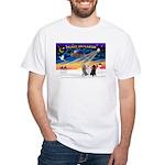 XmasSunrise/3 Std Poodles White T-Shirt