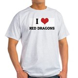 I Love Red Dragons Ash Grey T-Shirt