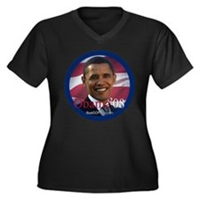 """Barack Obama 2008"" Womens Plus Size V-Neck Dark T"
