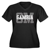 GM Gambia Women's Plus Size V-Neck Dark T-Shirt