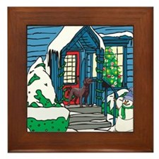 Welcome Chocolate Lab Framed Tile