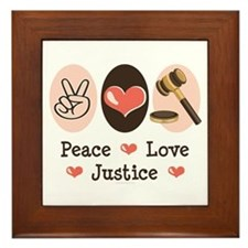 Peace Love Justice Judge Framed Tile
