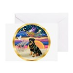 XmasStar/Rottie #3 Greeting Cards (Pk of 10)