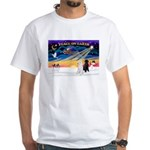 XmasSunrise/2 Std Poodles White T-Shirt