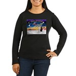 XmasSunrise/2 Std Poodles Women's Long Sleeve Dark