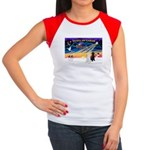 XmasSunrise/2 Std Poodles Women's Cap Sleeve T-Shi