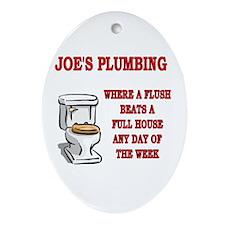 Joe's Plumbing Oval Ornament