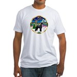XmasMusic 3/G Schnauzer Fitted T-Shirt