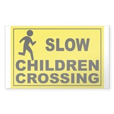 SLOW CHILDREN CROSSING Rectangle Sticker 50 pk)