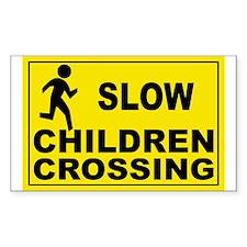 SLOW CHILDREN CROSSING Rectangle Sticker 50 pk)
