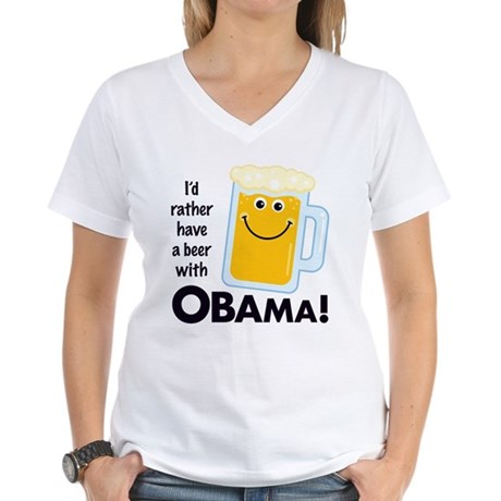 Rather Have a Beer With Women's V-Neck T-Shirt