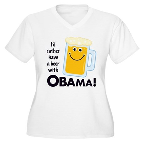 Rather Have a Beer With Women's Plus Size V-Neck T