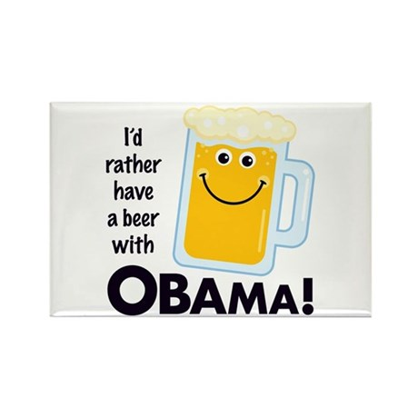 Beer with Obama Rectangle Magnet