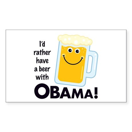 Beer with Obama Rectangle Sticker