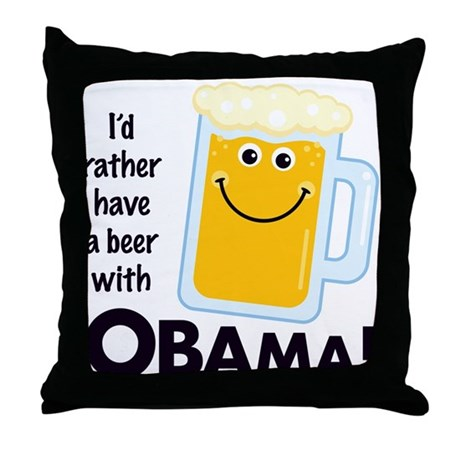 Beer with Obama Throw Pillow