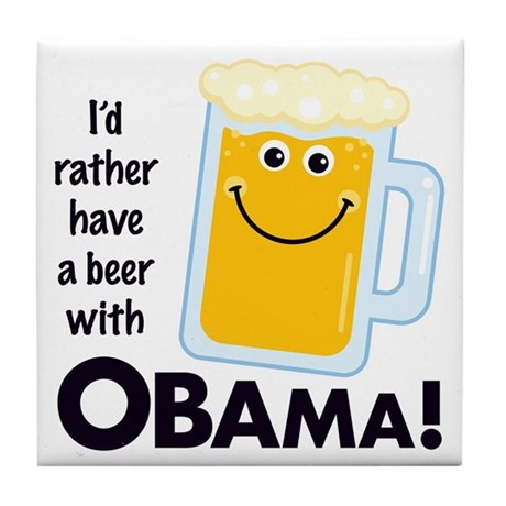 Beer with Obama Tile Coaster