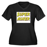 Super asher Women's Plus Size V-Neck Dark T-Shirt