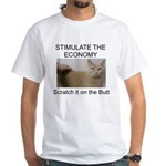 Scratch the economy on the bu White T-Shirt