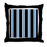 Colorful Blue and Black Ribbon StripeThrow Pillow