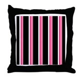 Pink and Black Ribbon Stripe Throw Pillow