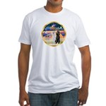 XmasMagic/2 Std Poodles Fitted T-Shirt