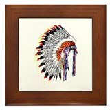 Indian Chief Headdress Framed Tile