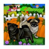 Pug Dogs Halloween Tile Coaster