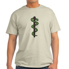 Asclepius Wand Tee (Light)
