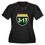 I-317 Women's Plus Size V-Neck Dark T-Shirt