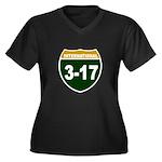 I-317 Women's Plus Size V-Neck Dark T-Shirt