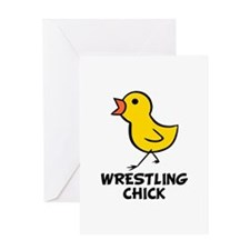 Wrestling Chick Greeting Card