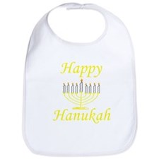 Happy Hanukah Menorah Bib