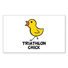 Triathlon Chick Rectangle Decal