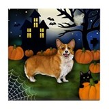 WELSH CORGI DOG HALLOWEEN NIGHT Tile Coaster
